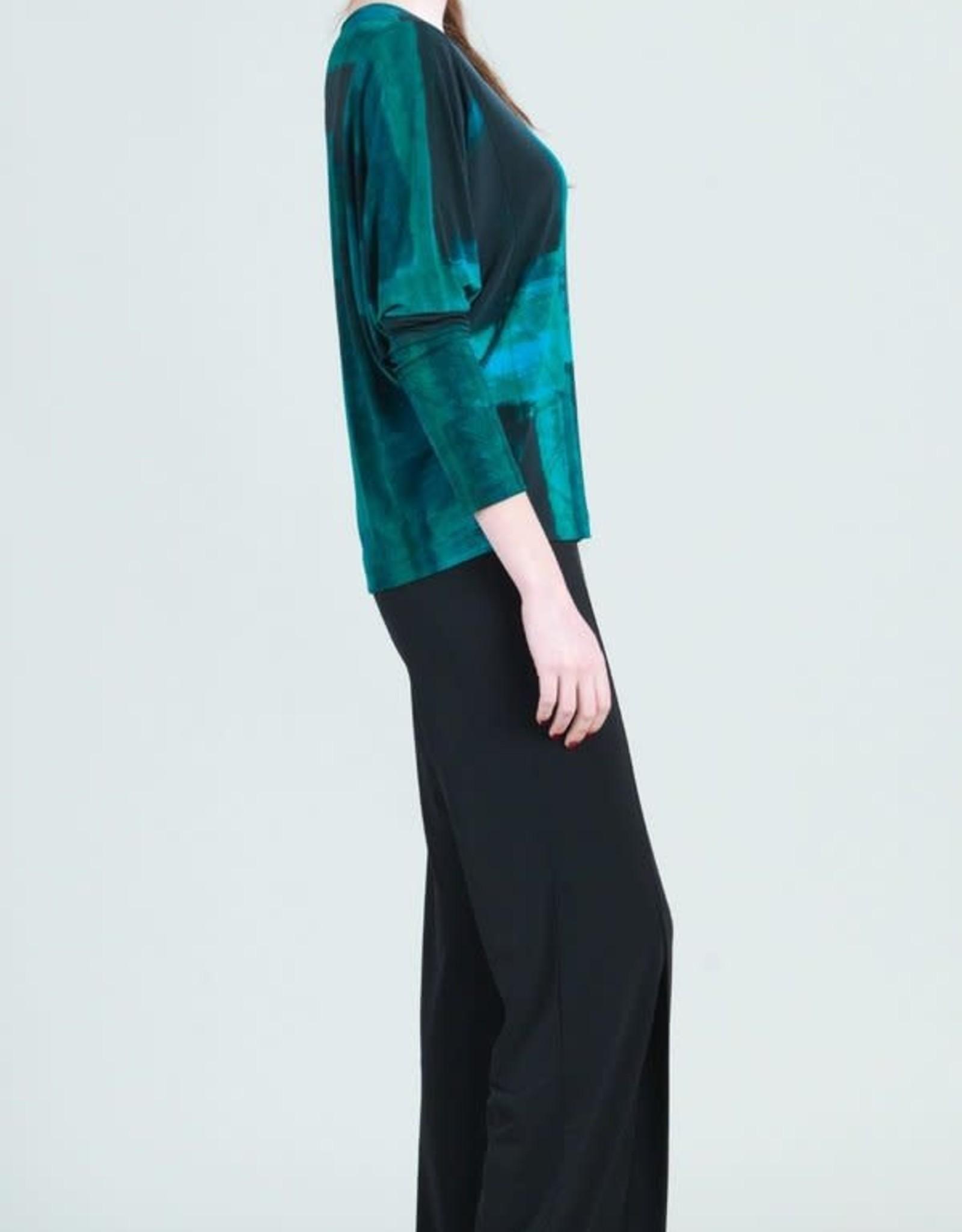 - Green Multi Watercolor Paint Stroke Dolman Sleeve Top