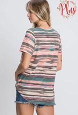 - Multi Stripe Criss Cross Short Sleeve Top