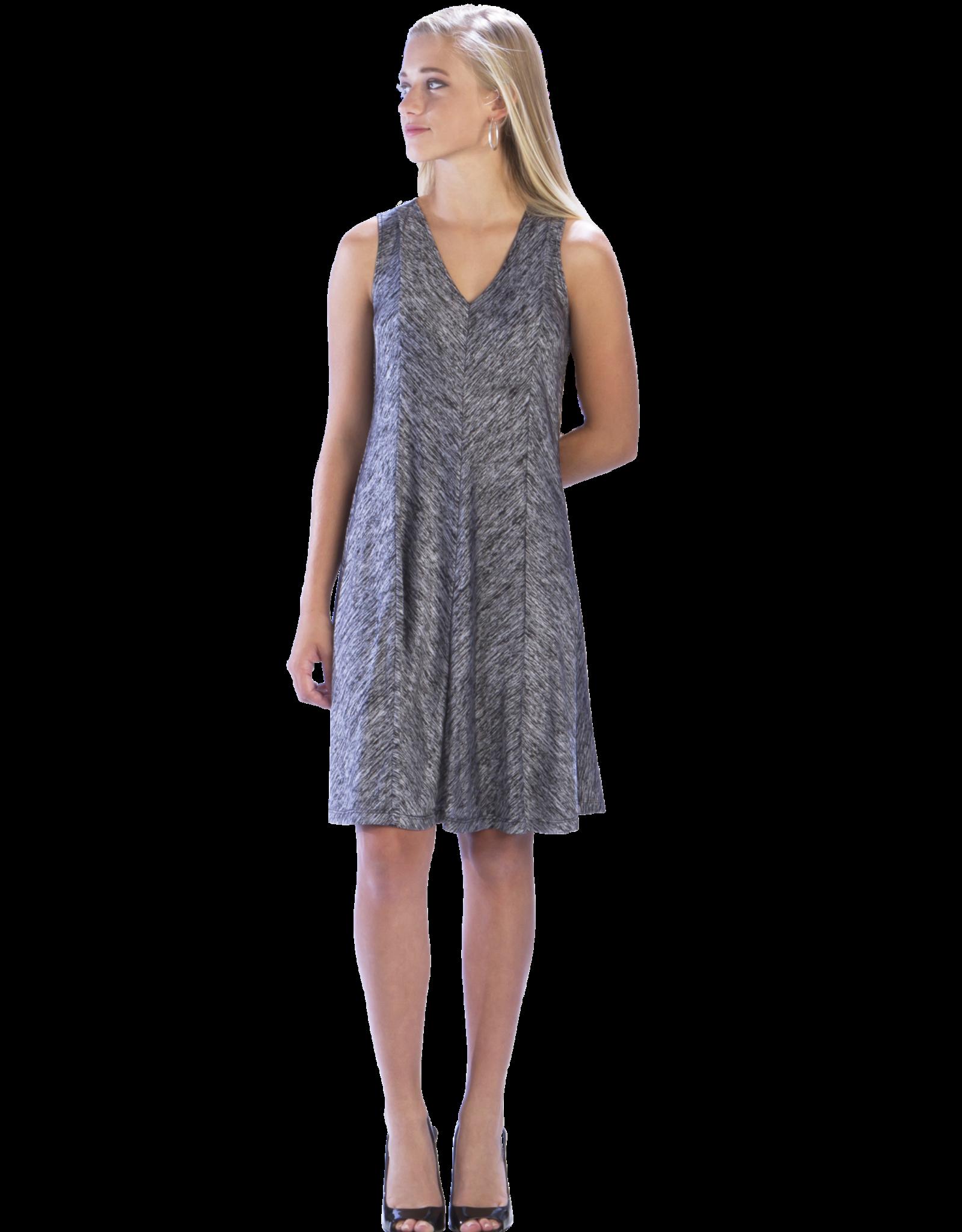 - Grey/Black Print Swing Tank Dress