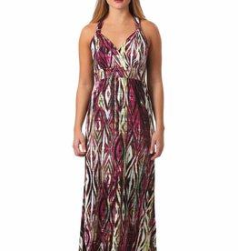 - Magenta Print Faux Halter Maxi Dress