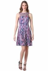 - Berry/Navy Criss Cross Latice Fit & Flare Tank Dress