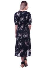 - Navy Floral Faux Wrap Dress w/Buttons