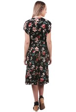 - Black Floral Tiered Midi Dress