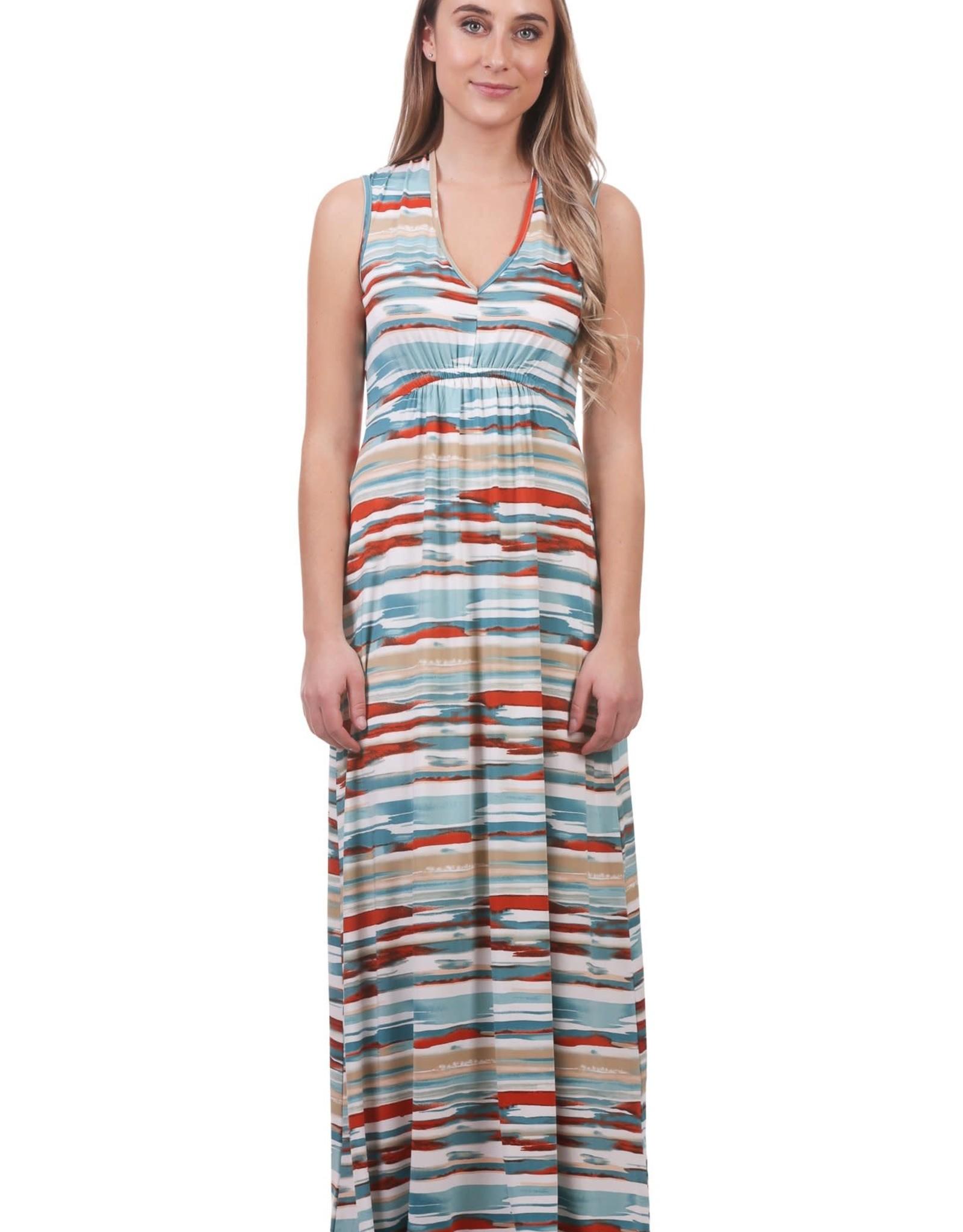 - Multi Color Gathered V-Neck Maxi Dress