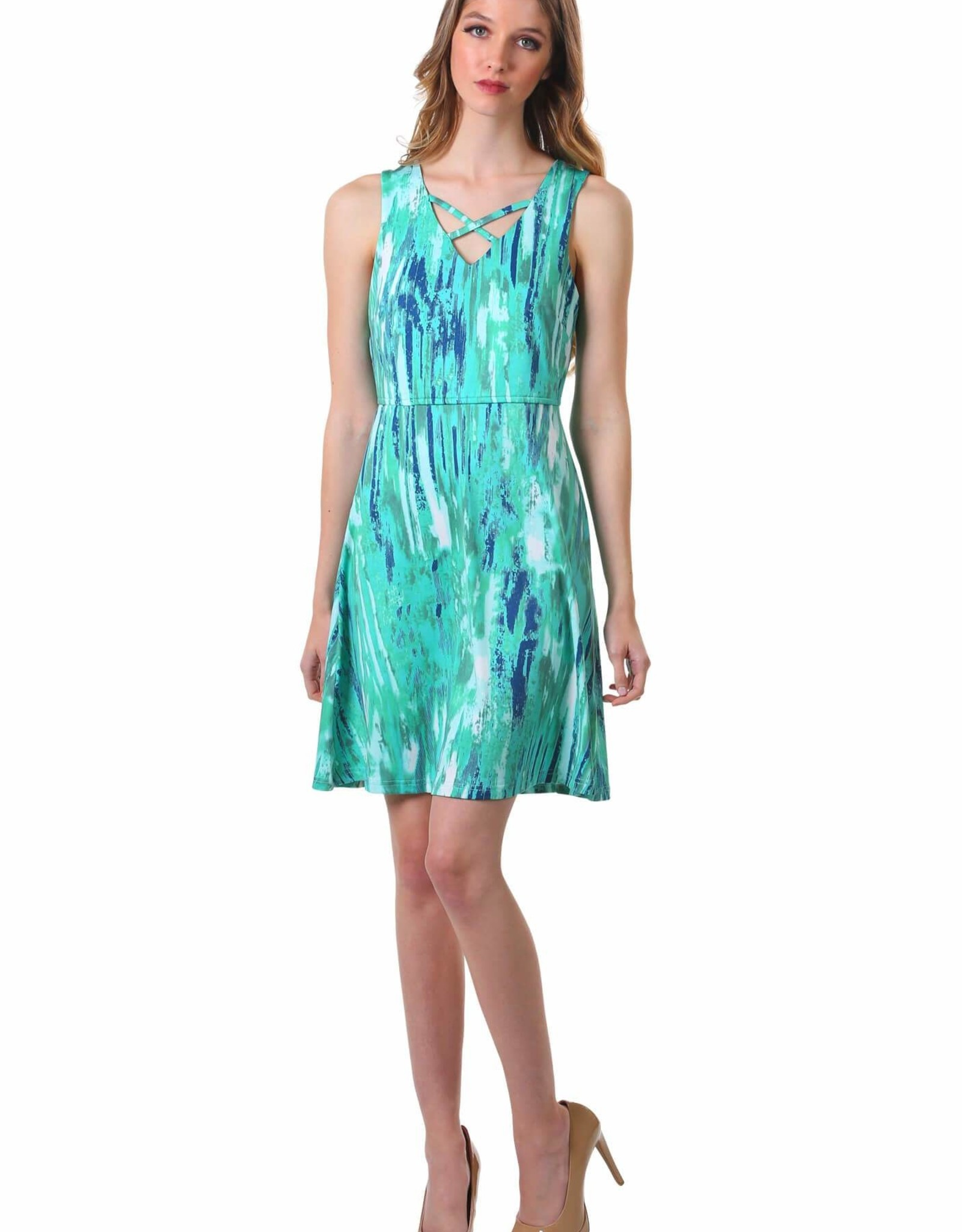 - Green Print Criss Cross V-Neck Fit & Flare Tank Dress