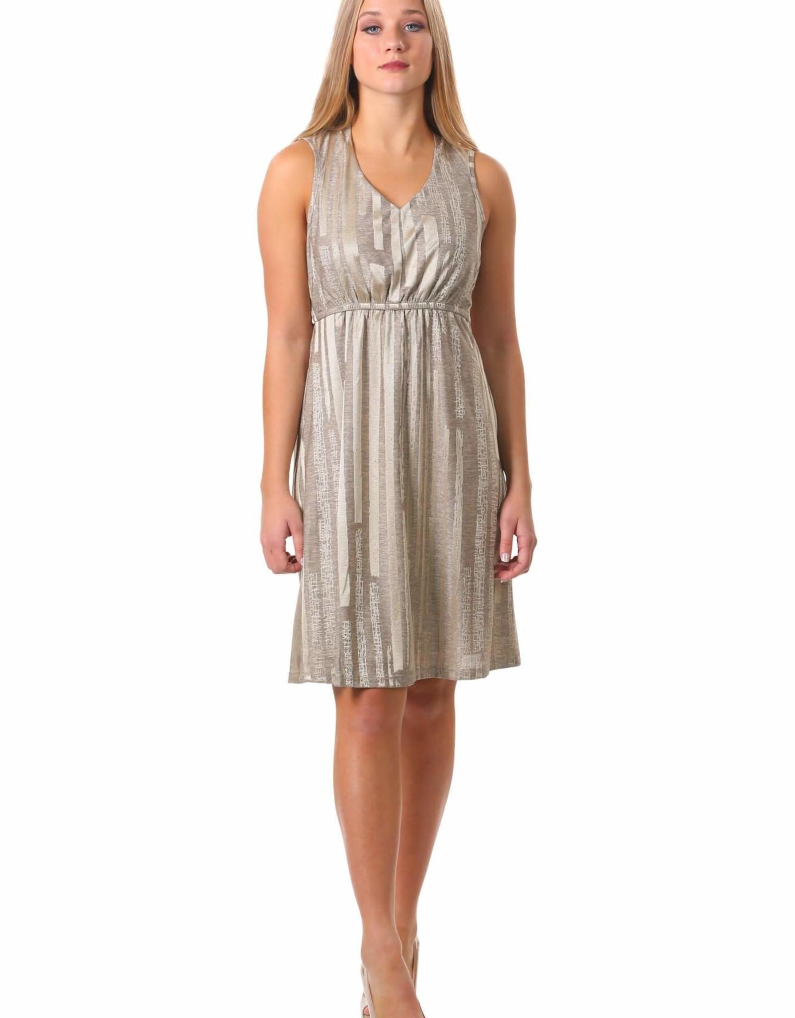 - Gold Metallic V-Neck Tank Dress