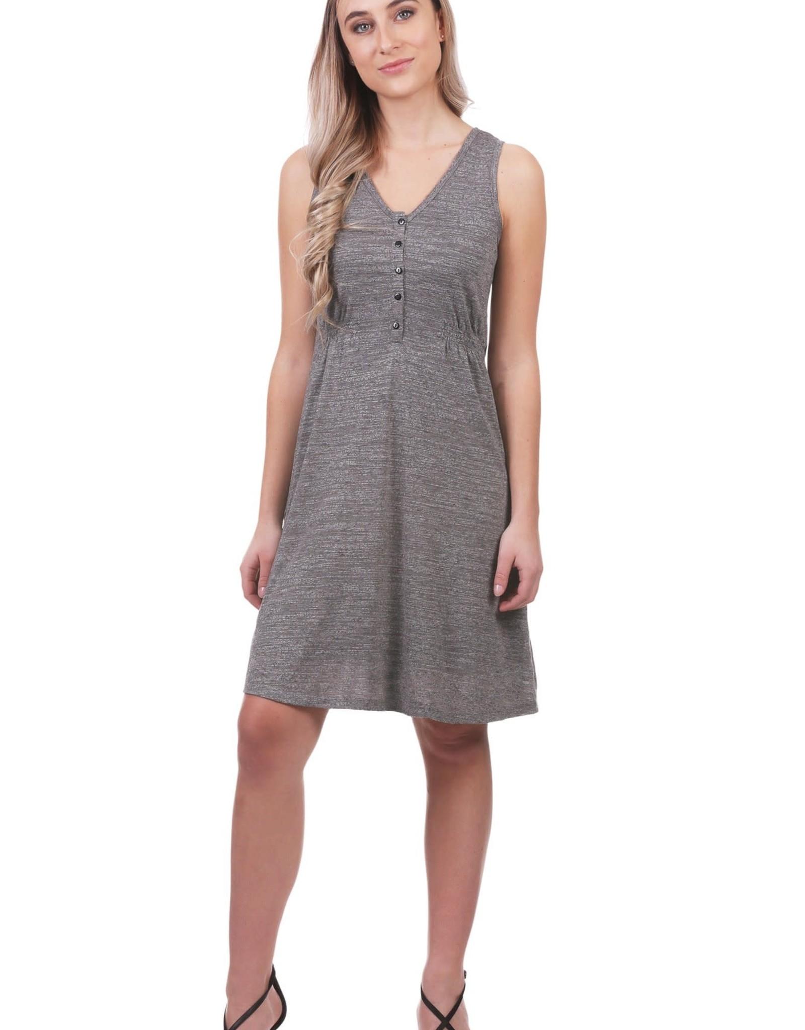 - Grey Slub Smocked Button Tank Dress