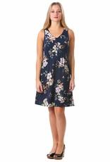 - Navy Floral Smocked Button Tank Dress
