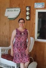 - Pink Print Reversible Keyhole Neckline Tank Dress