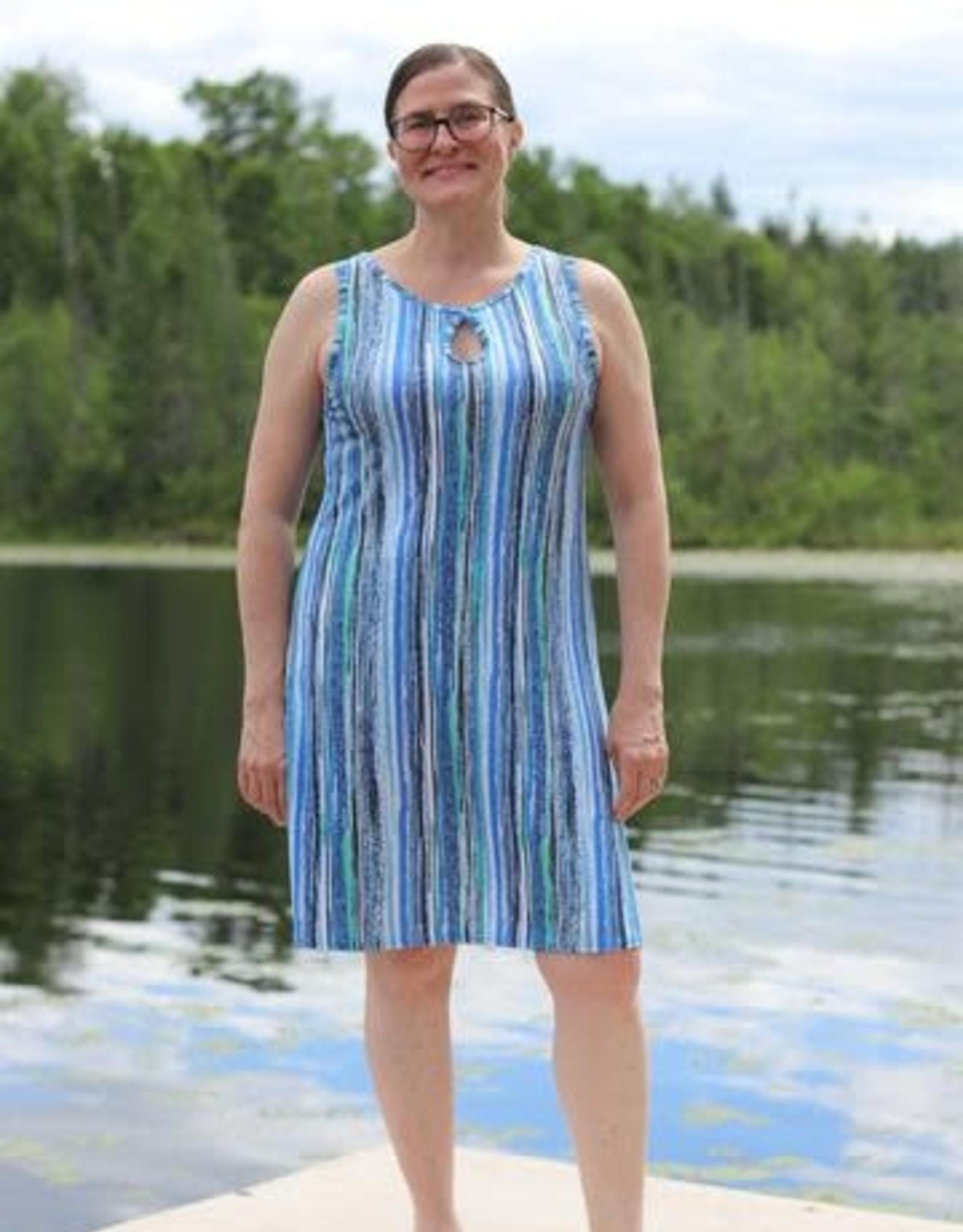 - Blue Ripple Print Reversible Keyhole Neckline Tank Dress