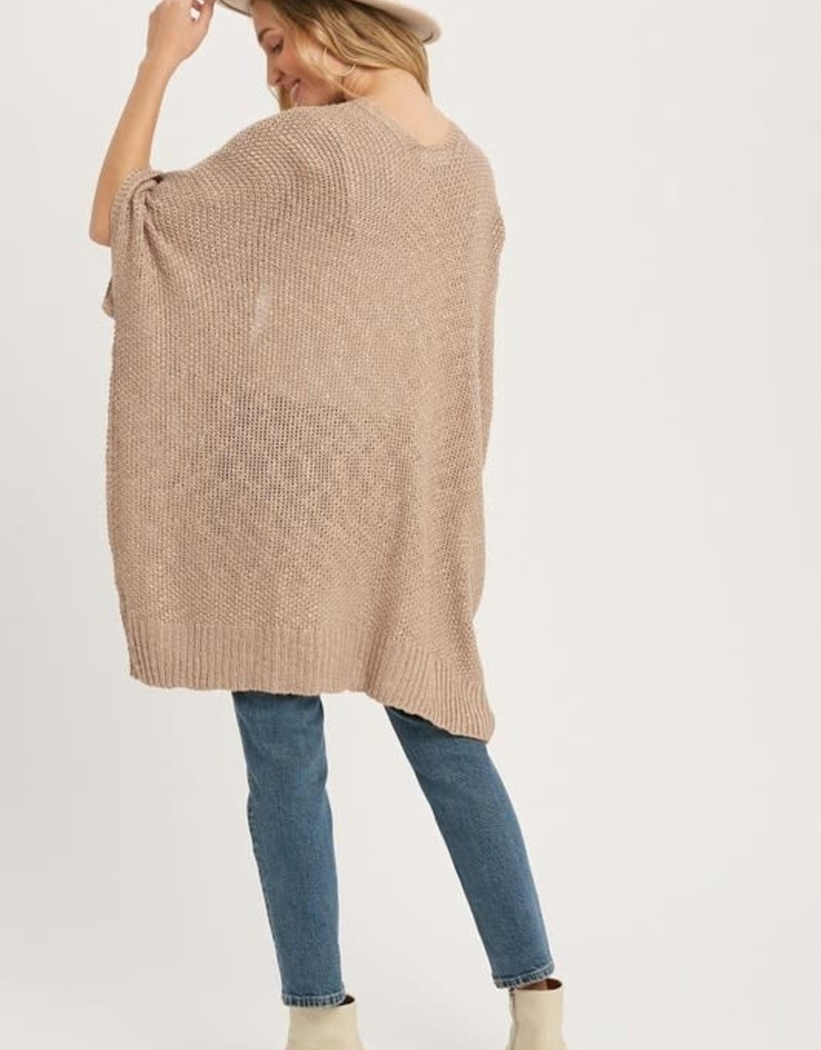 - Latte Wide Sleeve Open Cardigan