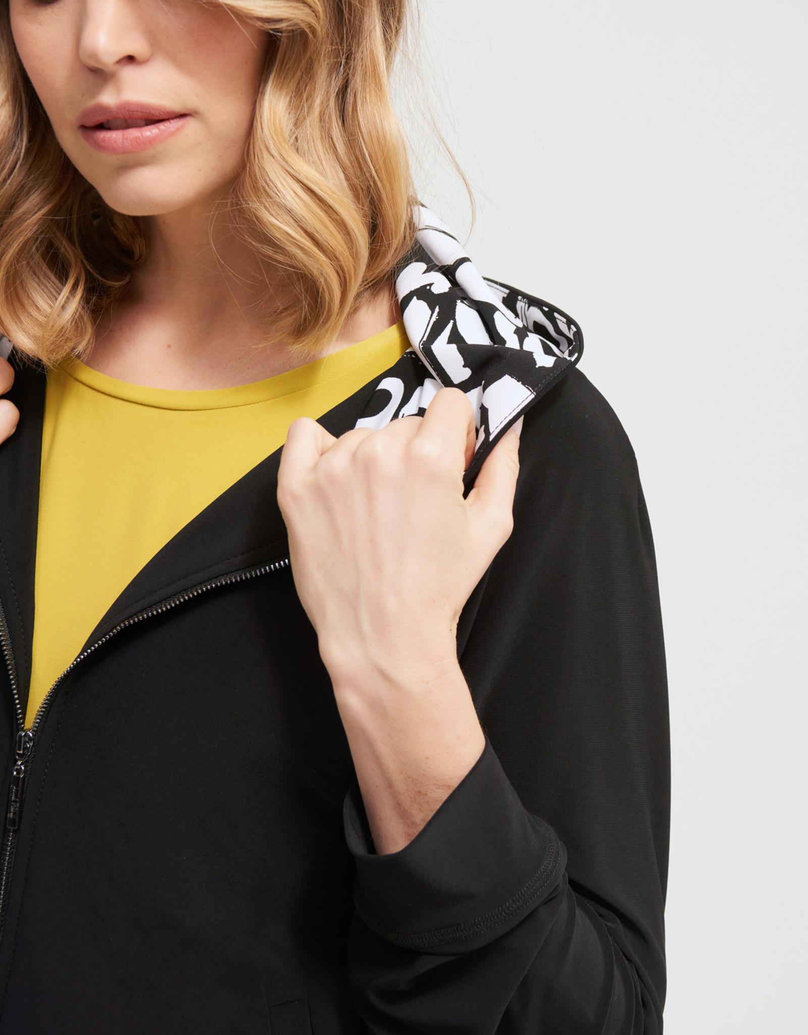 Joseph Ribkoff Black Zip-Up Jacket w/BW Print Hood
