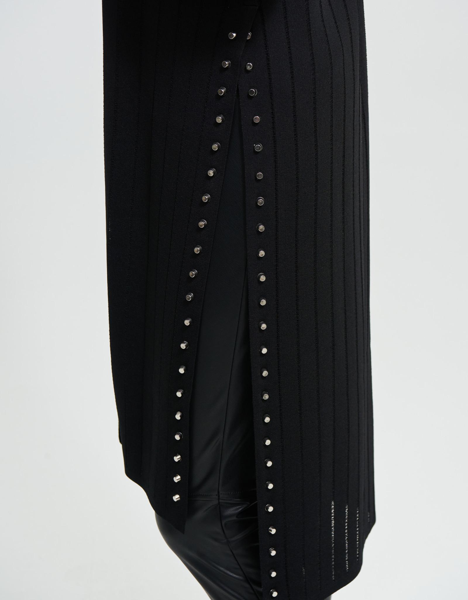 Joseph Ribkoff Black Ribbed Long Cardigan w/Studs