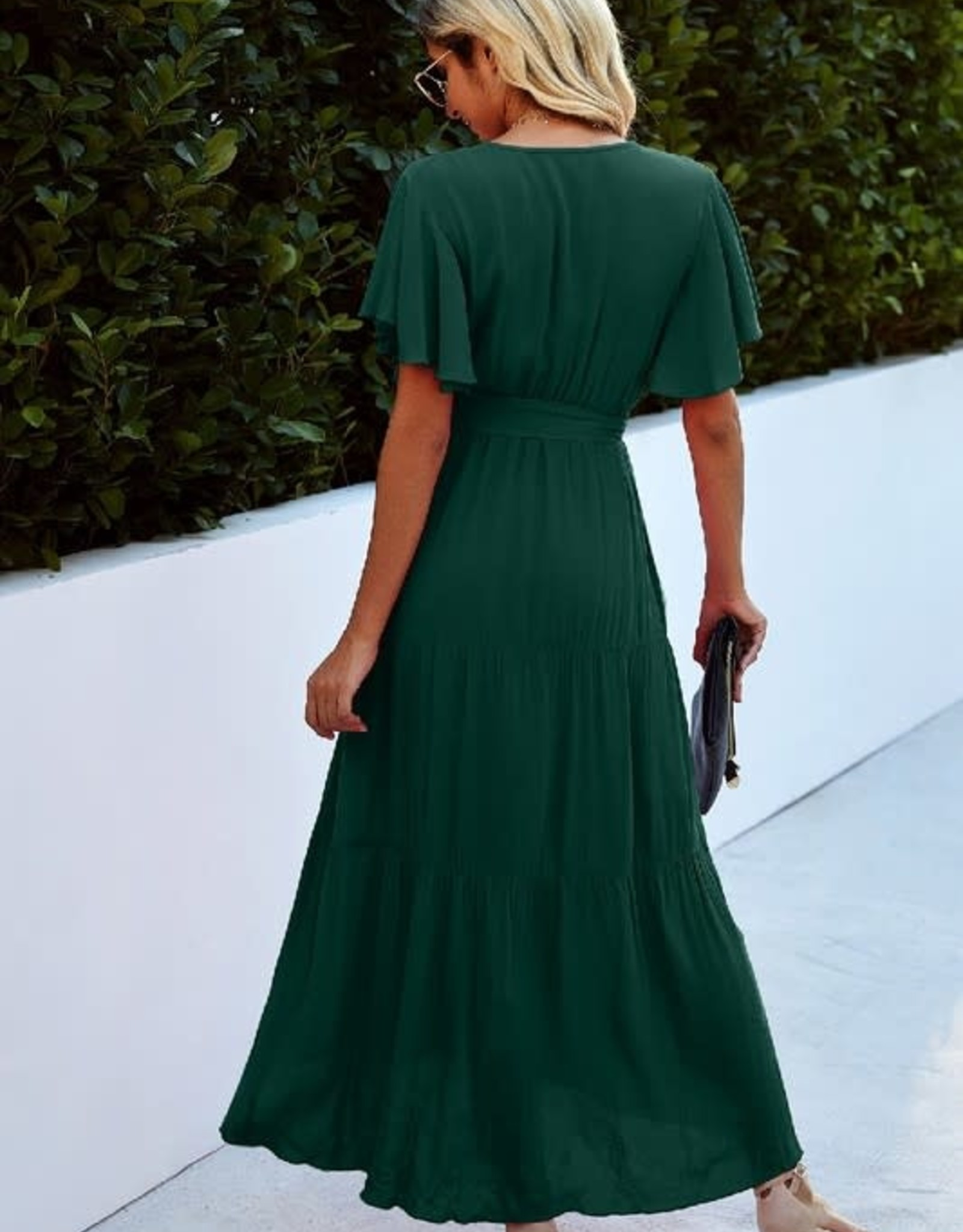 - Green V-Neck Ruffle Midi Dress
