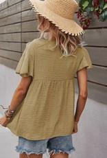 - Yellow Short Sleeve Top w/Tassel Ties