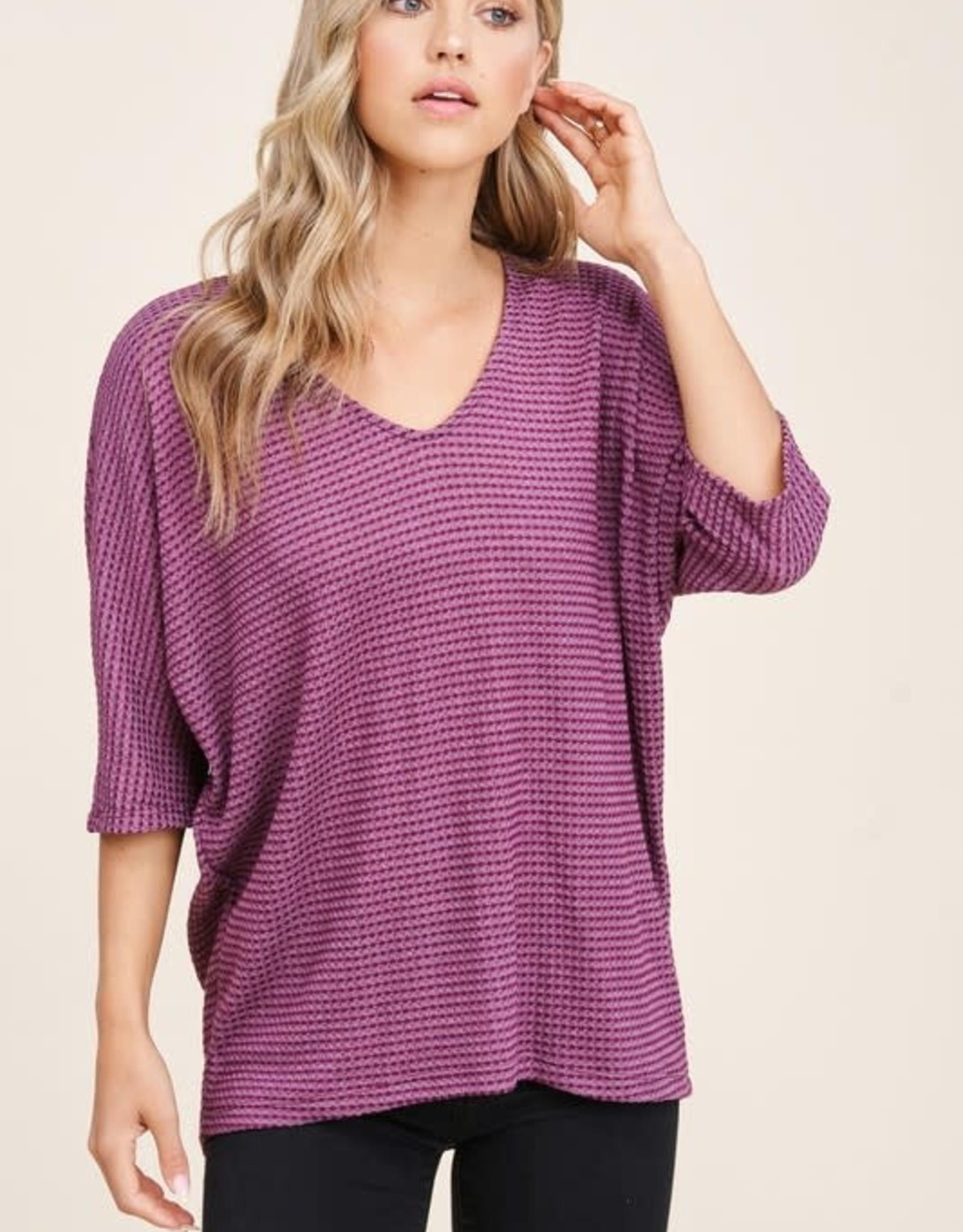 - Plum V-Neck Waffle Knit Short Sleeve Top
