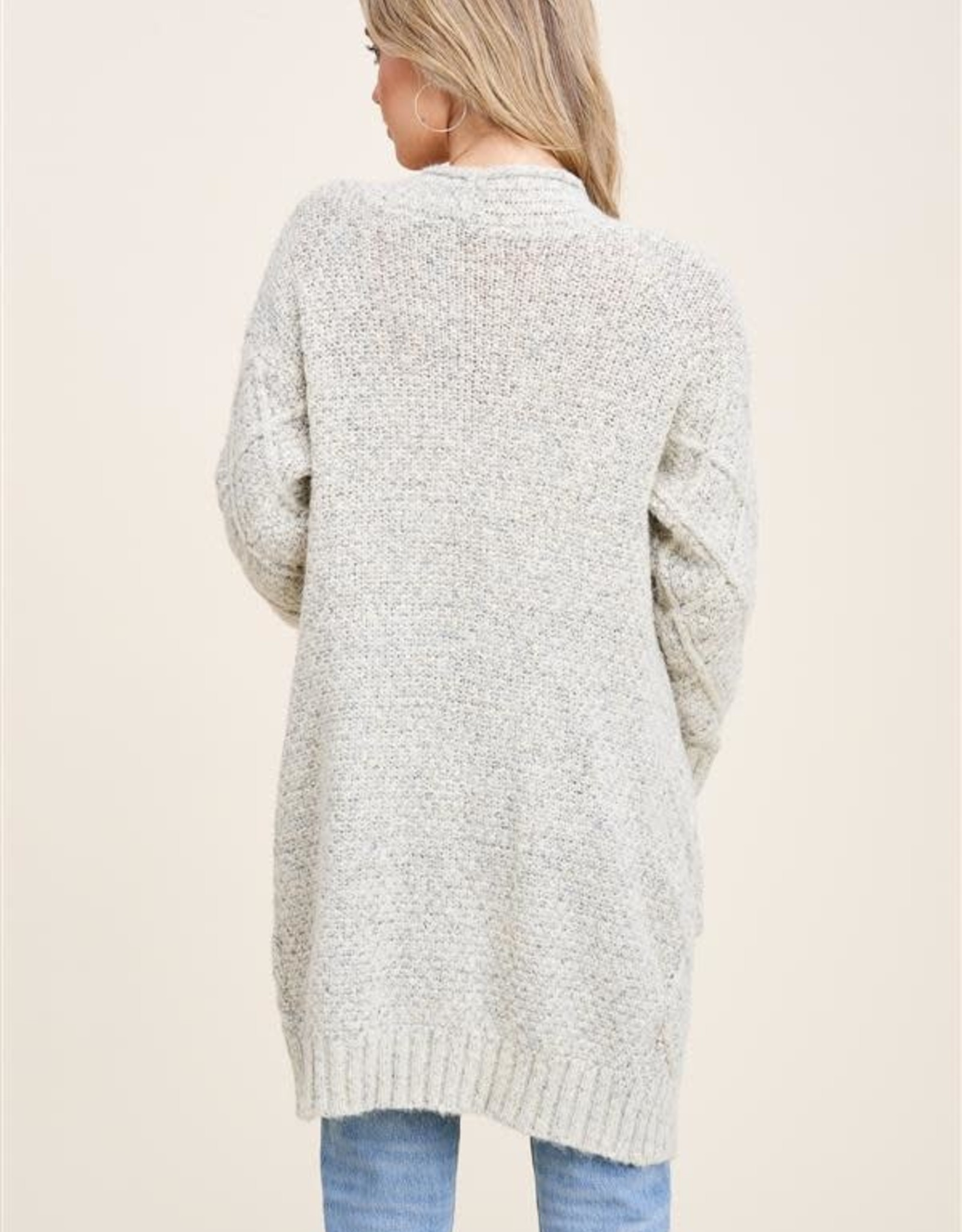 - Oatmeal Cardigan Chunky Cable Open Front w/ Pockets