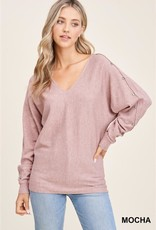 - Dusty Rose Heathered V-Neck Sweater Dolman Sleeve w/ Button Detail