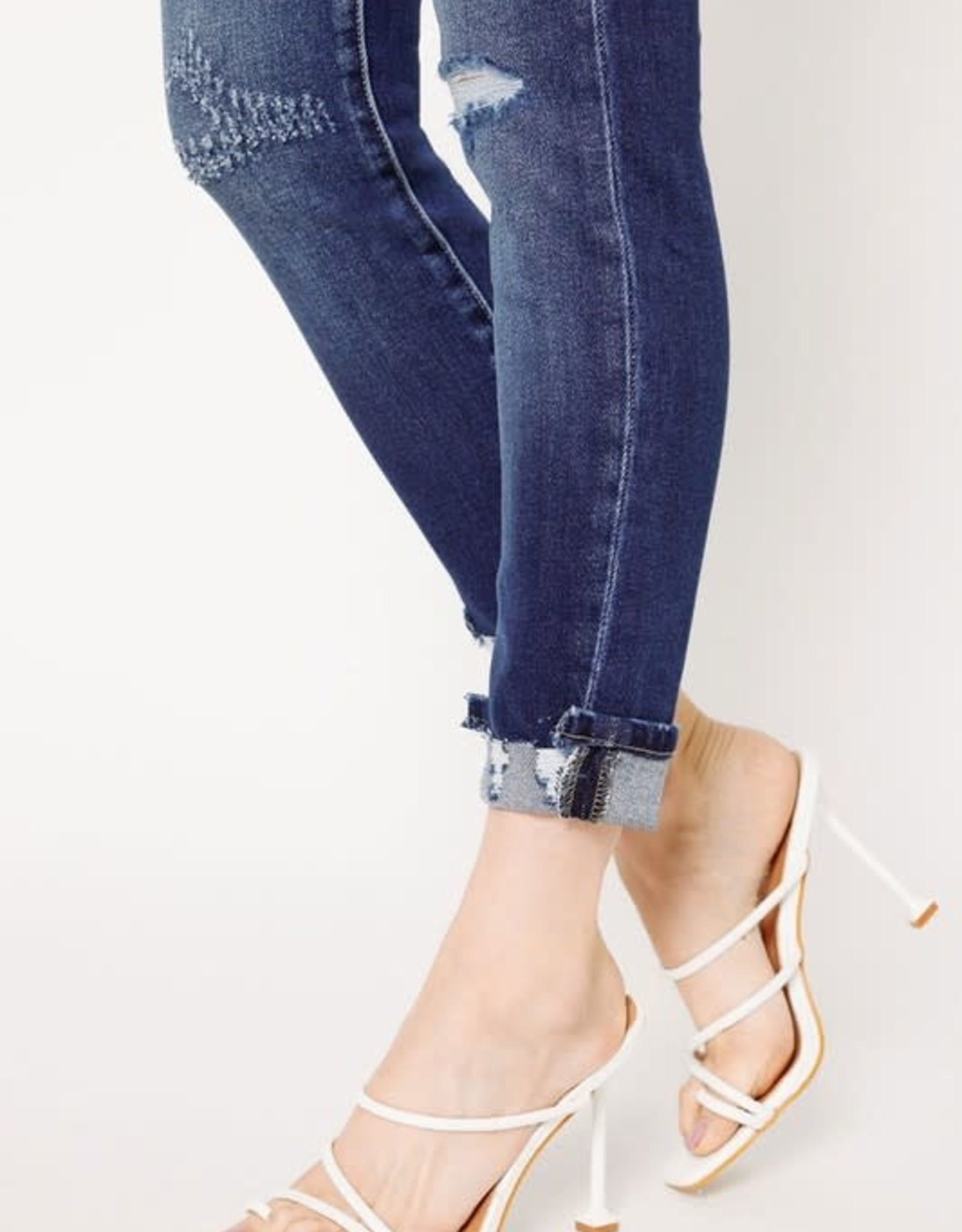 Kancan Dark Wash High Rise Buttonfly Cuffed Ankle Skinny