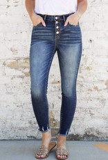 Kancan Dark Wash High Rise Rosegold Buttonfly Ankle Skinny Jean