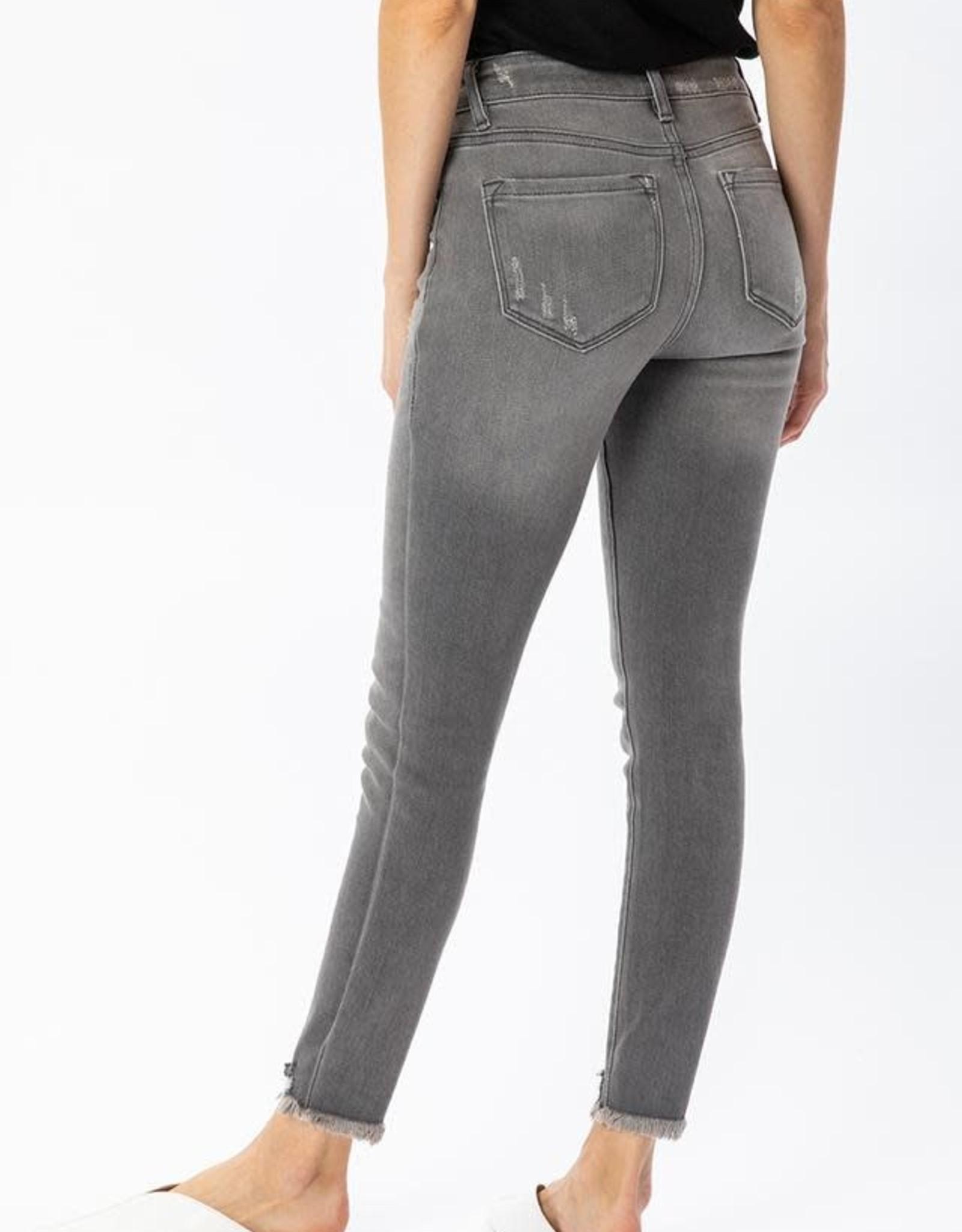 Kancan Grey High Rise Destructed Hem Ankle Skinny Jean