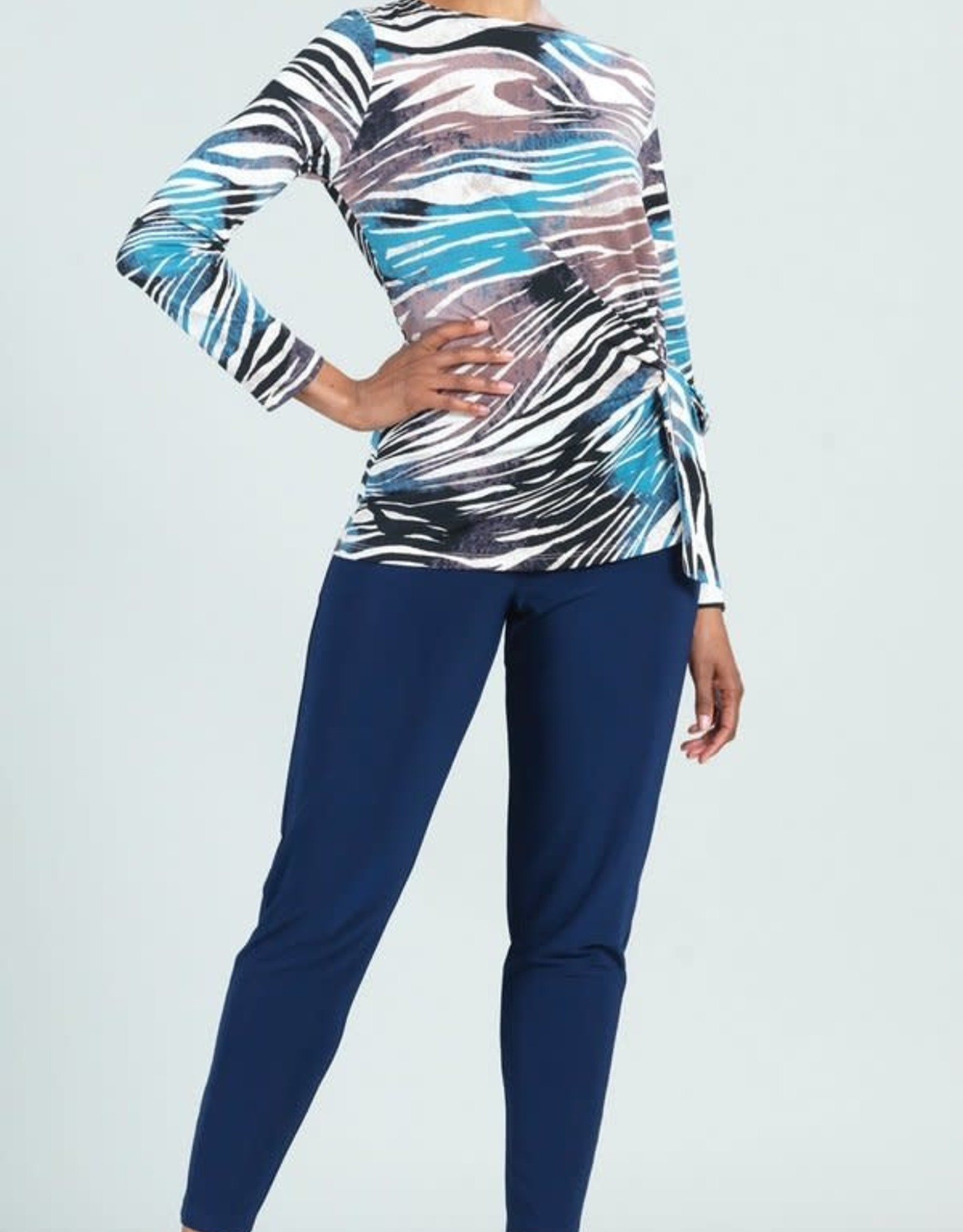 - Turquoise Zebra Print Scoop  Neck Tunic w/  Side Tie
