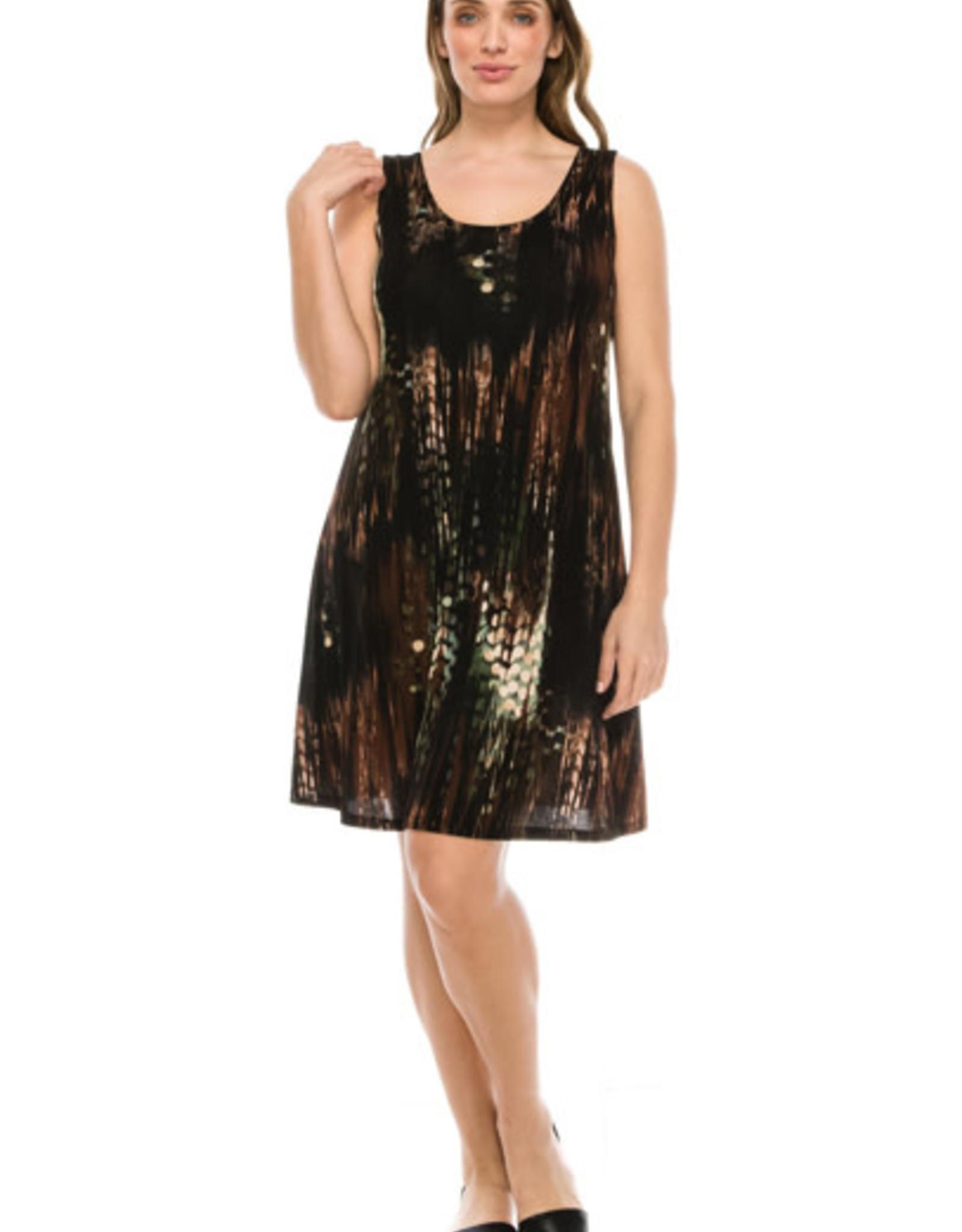 - Brown / Sage Print Tank Dress