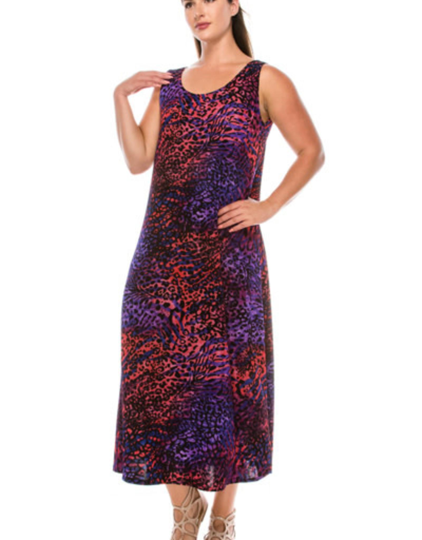 - Red / Purple Animal Print Midi Tank Dress