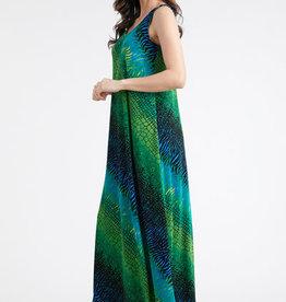 - Green Animal Print Midi Tank Dress