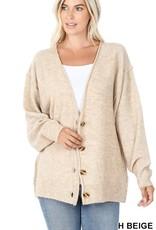 - Heather Beige Melange Button Down Oversized Cardigan