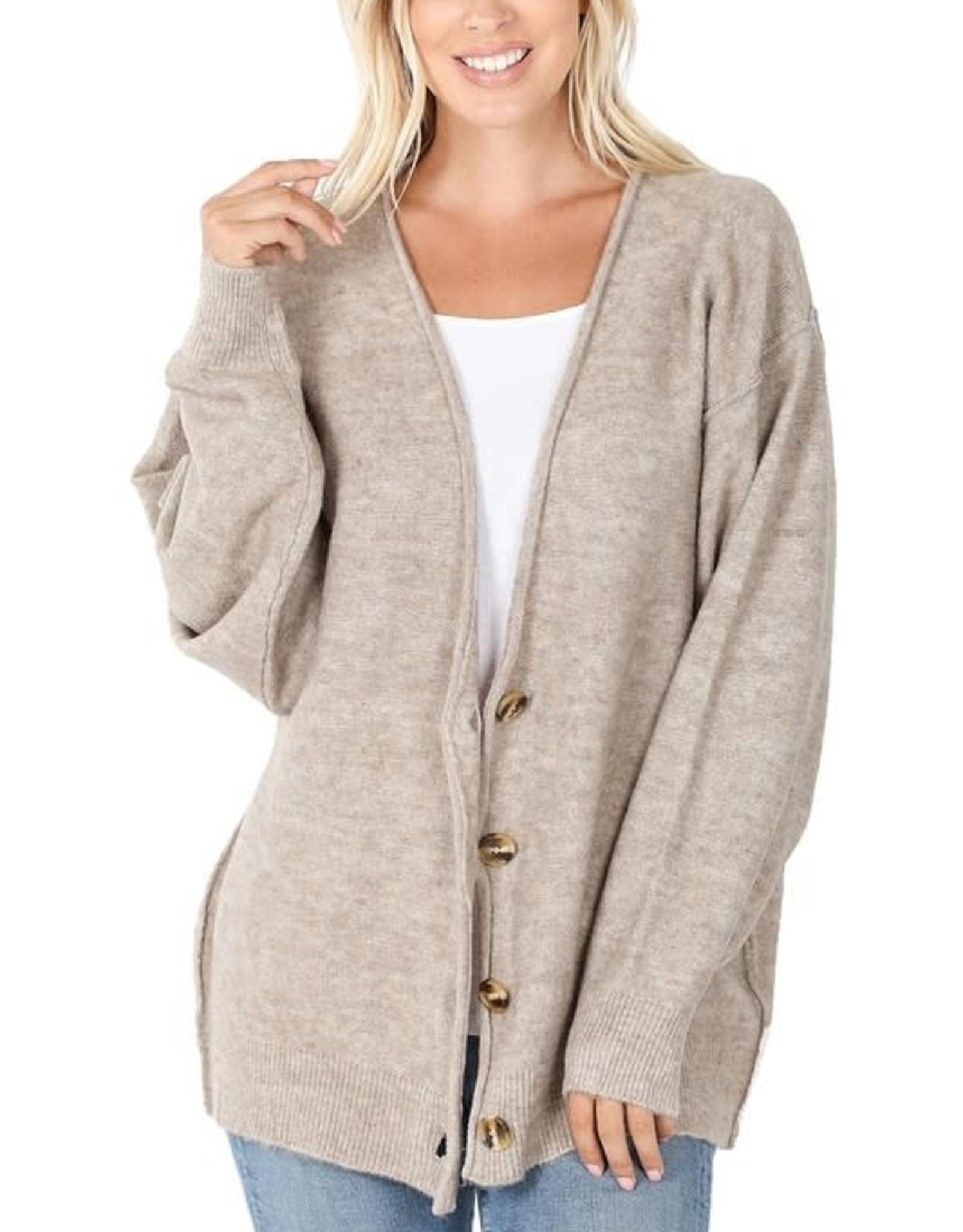 - Heather Mocha Melange Button Down Oversized Cardigan