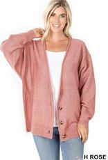 - Heather Rose Melange Button Down Oversized Cardigan
