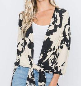 - Black/Ivory Floral Cardigan