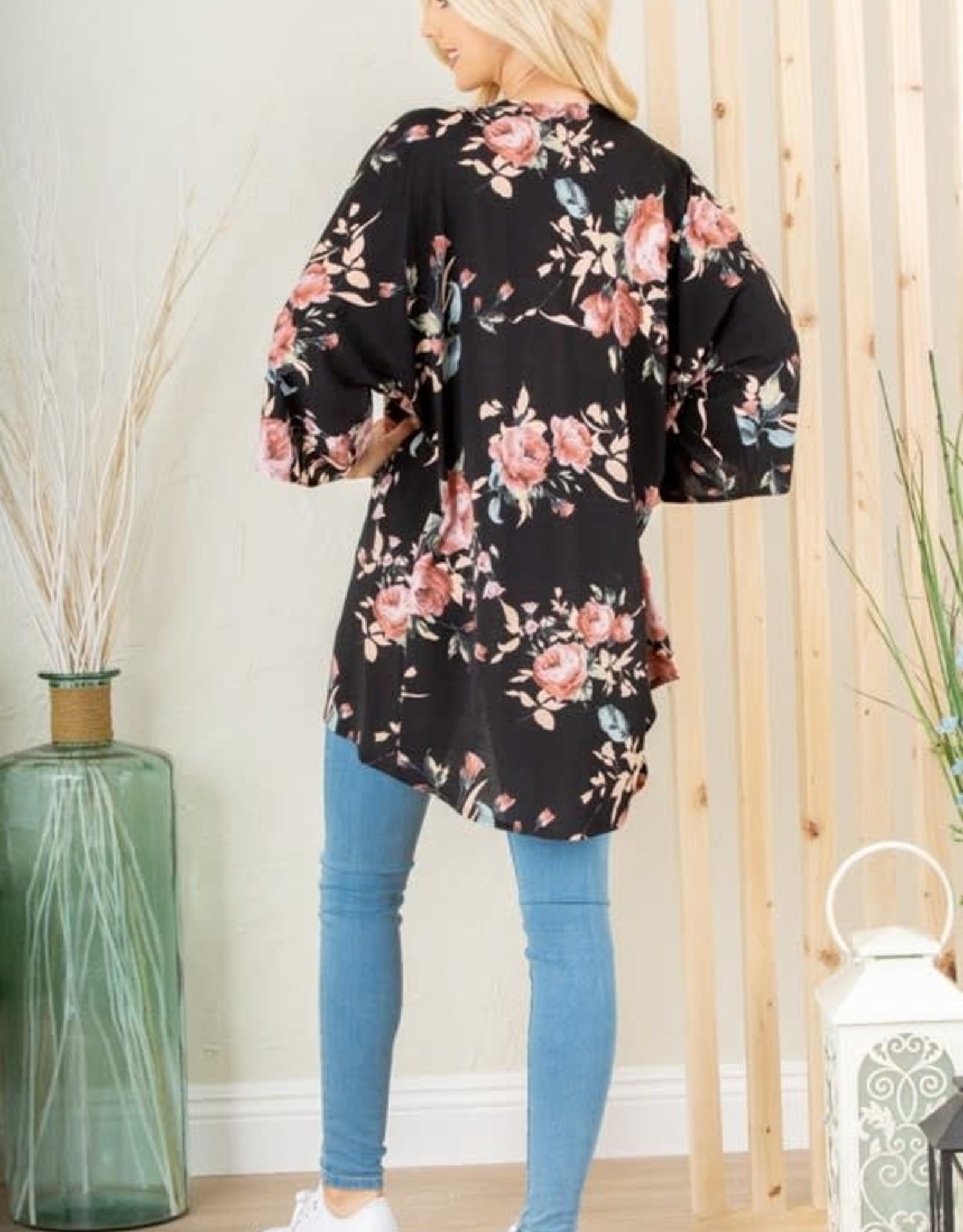 - Black/Pink Floral Cardigan