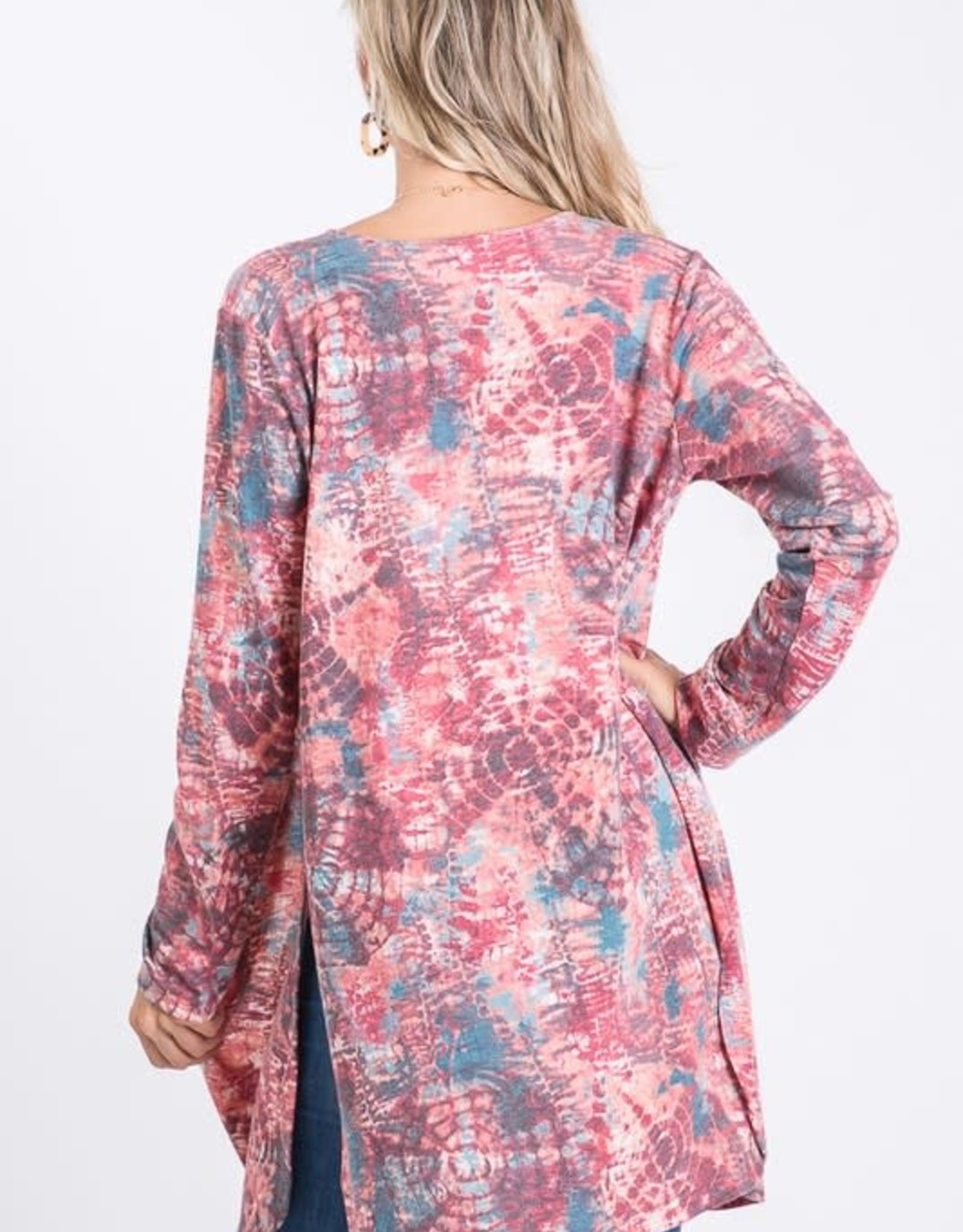 - Red Multi Print Knit Cardigan