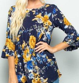 - Navy/Mustard Floral Ruffled Babydoll 3/4 Sleeve Top