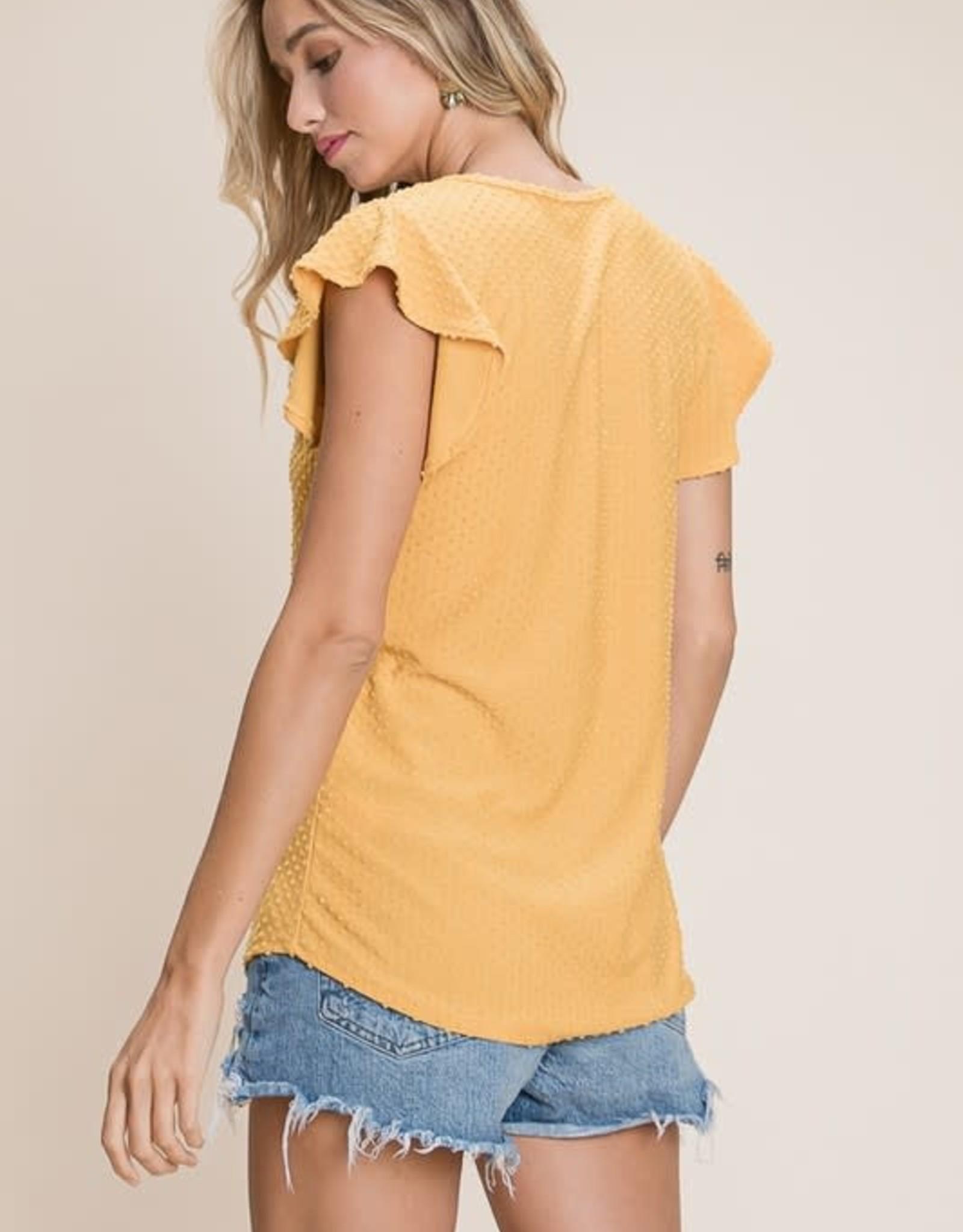 - Mustard Swiss Dot Ruffle Sleeve Top