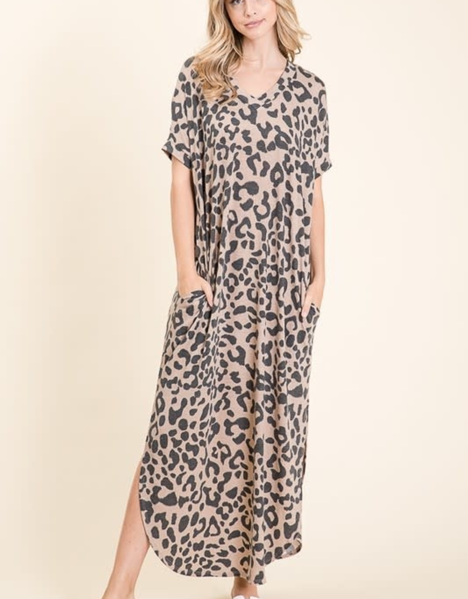 - Taupe Animal Print Relaxed Fit Maxi Dress w/ Pockets