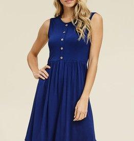 - Blue Sleeveless Button Detail Midi Dress
