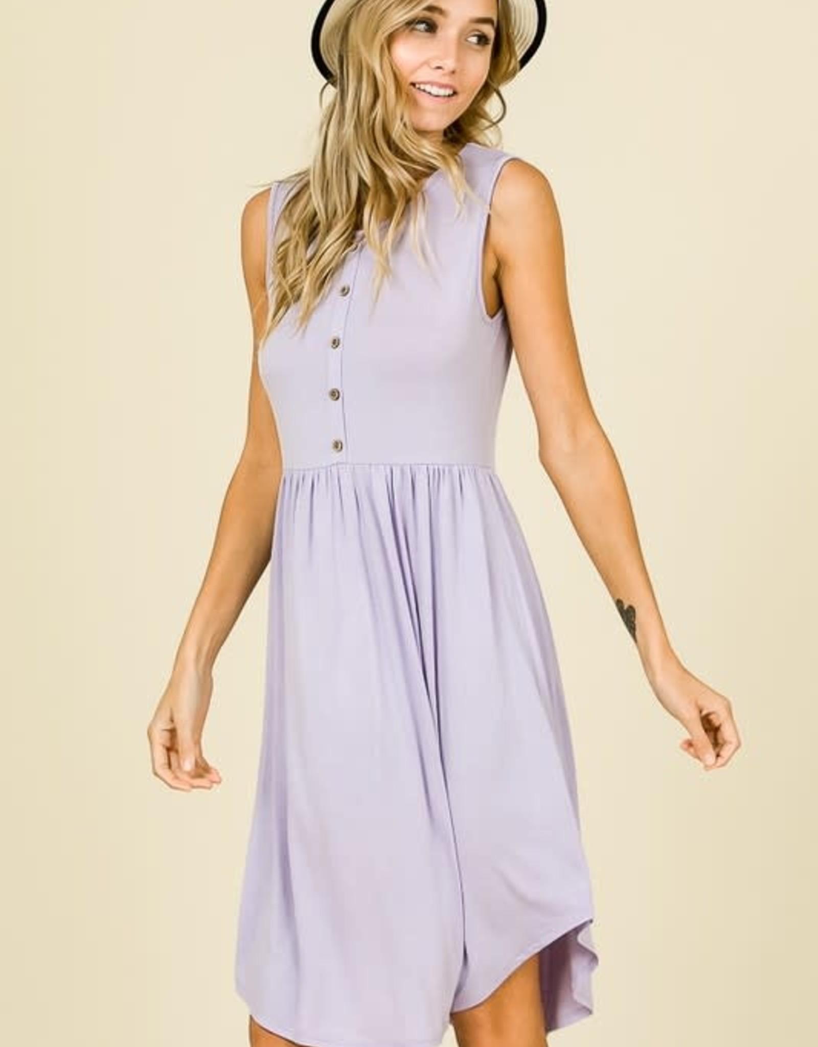 - Lilac Sleeveless Button Detail Midi Dress