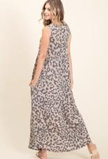 - Taupe Animal Print Sleeveless Maxi Dress