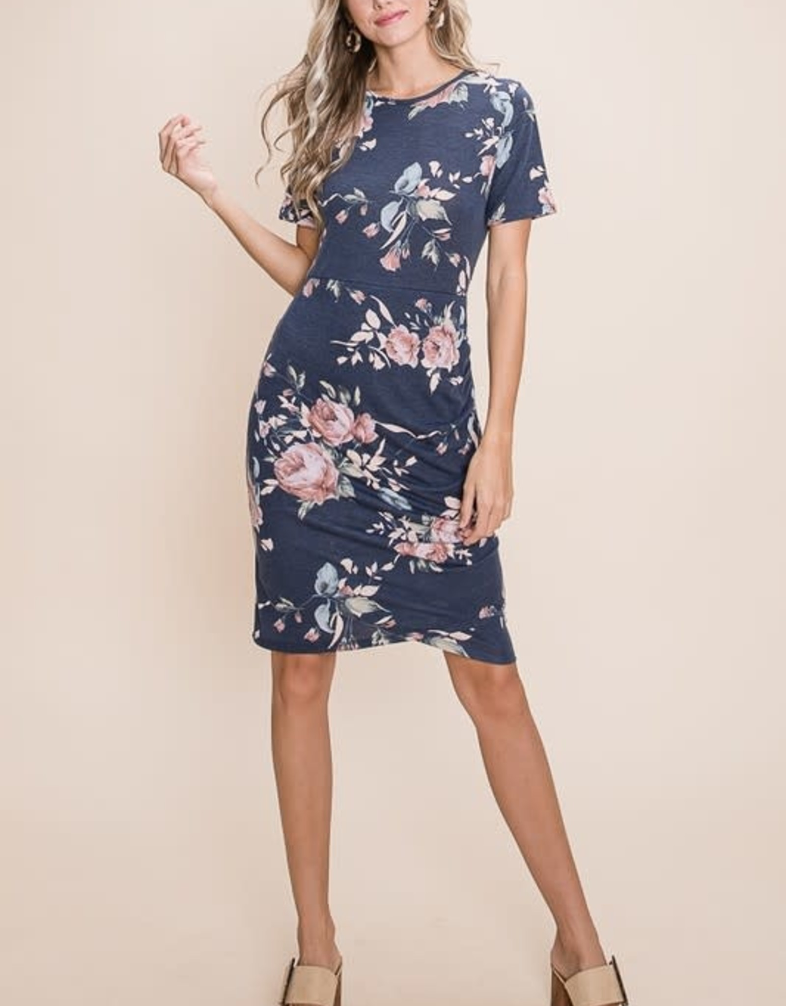 - Pink Floral Short Sleeve Dress w/Ruched Side