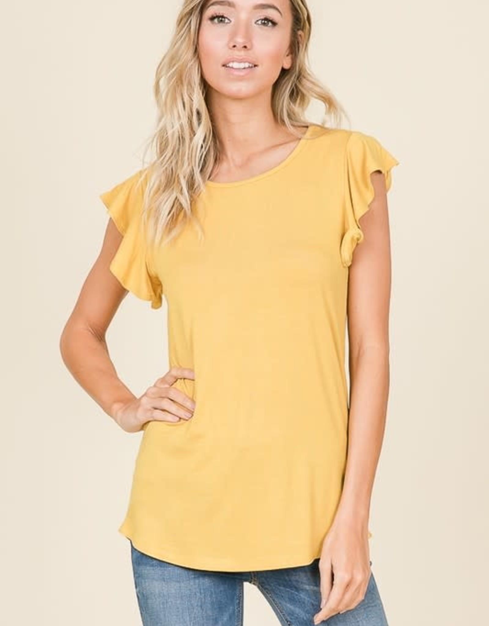 - Mustard Ruffle Short Sleeve Top