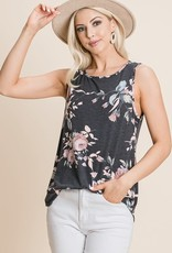 - Black/Pink Floral Tank w/Scoop Hem