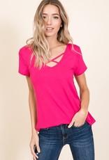 - Fuchsia Criss Cross Short Sleeve Top