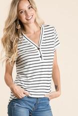 - Ivory/Black Stripe Short Sleeve Top w/Button Detail