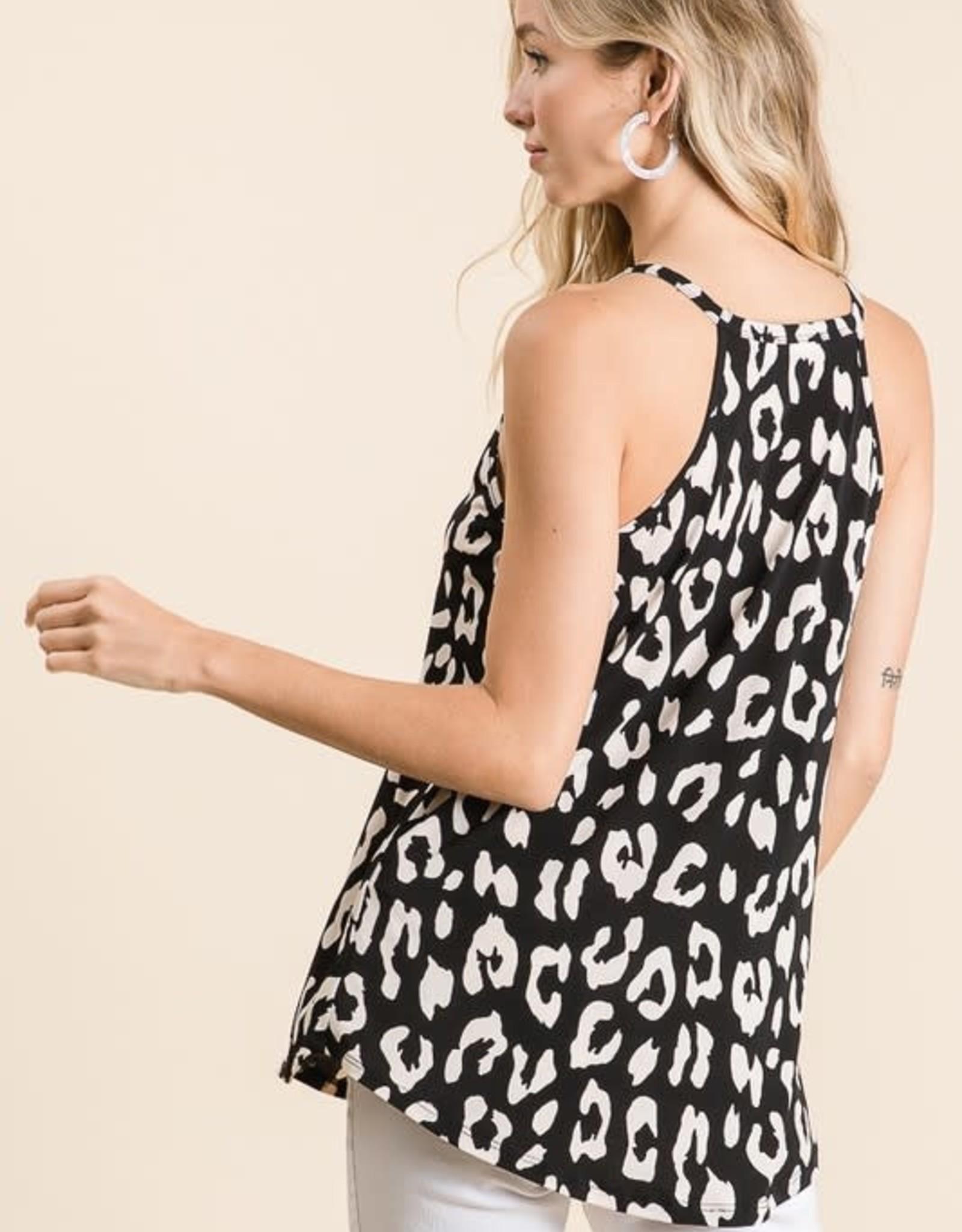 - Black/Ivory Animal Print Halter Tank