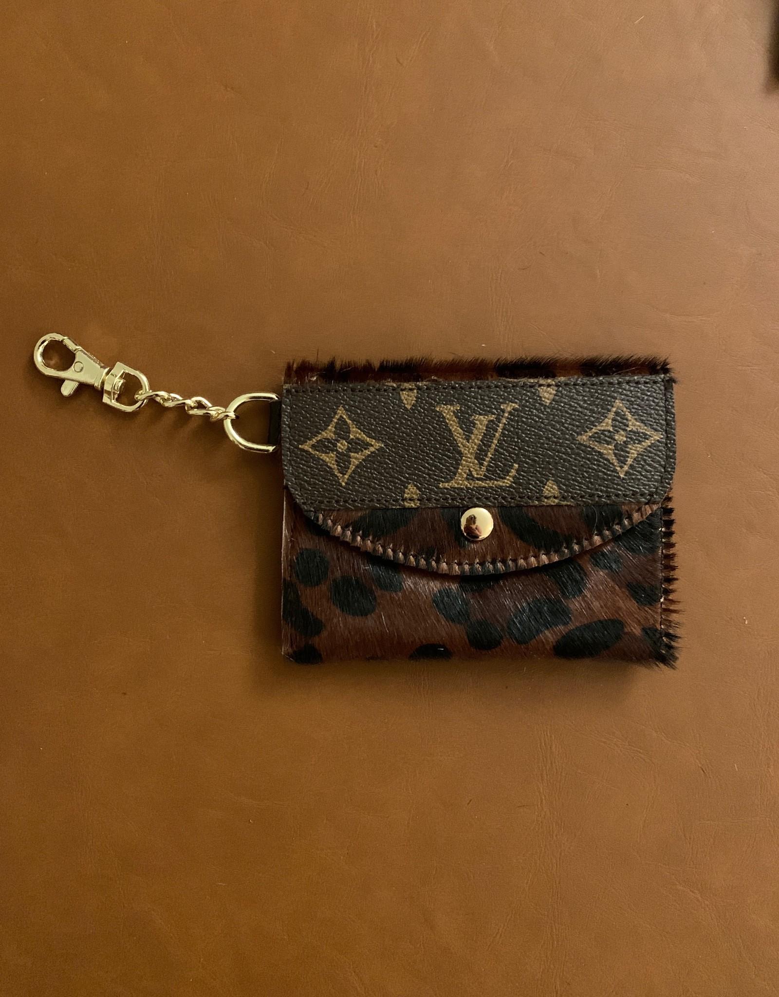 - Brown Large Cheetah Print Upcycled Louis Vuitton Cardholder