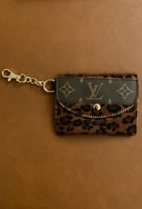 - Brown Small Cheetah Print Upcycled Louis Vuitton Cardholder