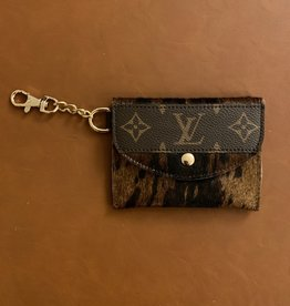 - Brown Tiger Print Upcycled Louis Vuitton Cardholder
